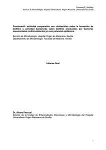 Prontosan®: actividad comparativa con clorhexidina sobre la formación de biofilms y actividad bactericida sobre biofilms producidos por bacterias nosocomiales multirresistentes y/o con potencial epidémico