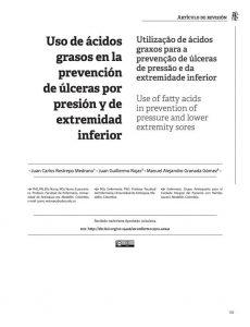 Uso de ácidos grasos en la prevención de úlceras por presión y de extremidad inferior
